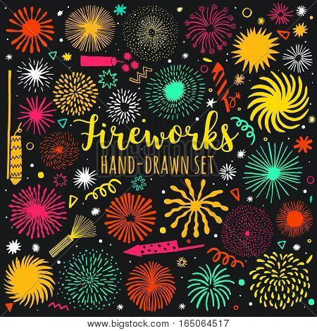 Vector firework, salute set isolated. Festive fireworks illustration