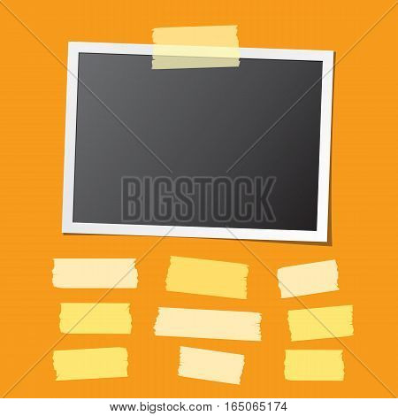 Realistic photo card fixed on orange background and collection of sticky tape pieces. Paper frame template with blank space for your image. Detailed vector eps10 illustration with transparency.