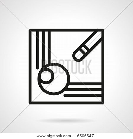 Corner of a billiard table with cue and ball in hole. A good shot concept. Sport and activity leisure. Pool, snooker, carom and other games. Single black simple line design vector icon.