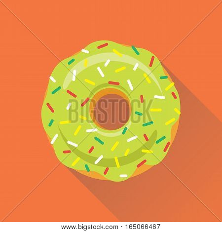 Donut flat style icon. Sweet sugar icing donut in the glaze with topping of colorful sprinkles on light green cream. Isolated eps8 vector illustration.