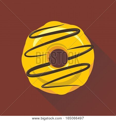 Donut flat style icon. Sweet sugar icing donut in the glaze of chocolate decoration on yellow cream. Isolated eps8 vector illustration.