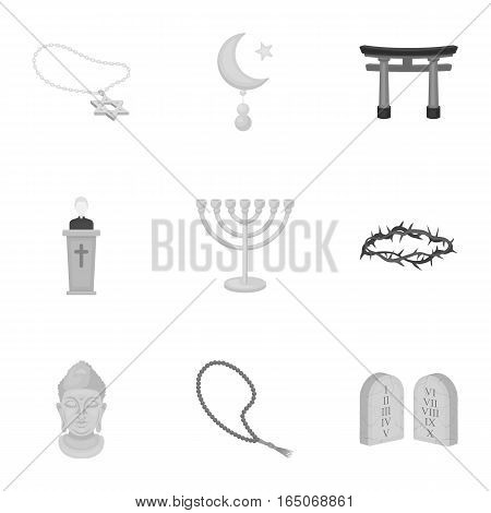 Religion set icons in monochrome style. Big collection of religion vector symbol stock