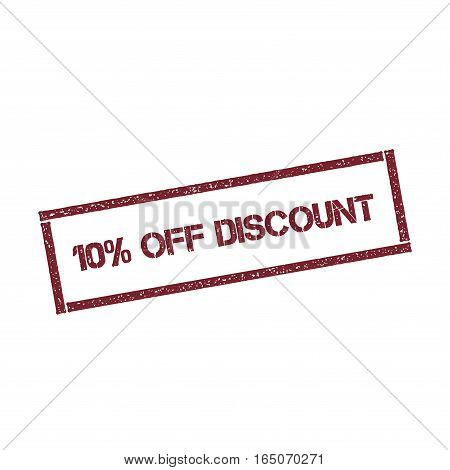 10% Off Discount Rectangular Stamp. Textured Red Seal With Text Isolated On White Background, Vector