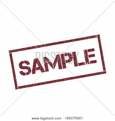 Sample Rectangular Stamp. Textured Red Seal With Text Isolated On White Background, Vector Illustrat