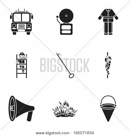 Fire department set icons in black style. Big collection of fire department vector symbol stock
