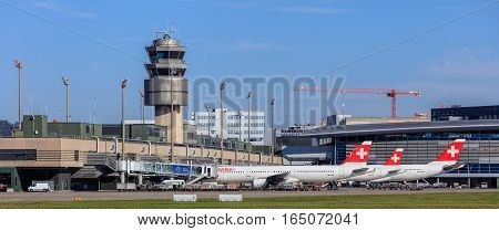 Kloten, Switzerland - 29 September, 2016: view in the Zurich Airport. The Zurich Airport, also known as the Kloten Airport, is the largest airport of Switzerland and the principal hub of Swiss International Air Lines.