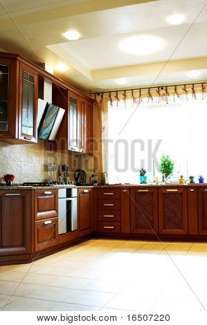Wooden kitchen furniture in the modern house