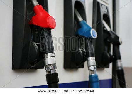 Refueling hose at modern petrol filling station