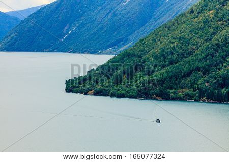 Tourism vacation and travel. Mountains landscape and fjord in Norway Scandinavia Europe. Beautiful nature