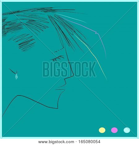 Portrait of girl. Drawing effect. illustration. Green background
