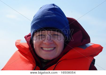 Young Woman Wearing Life Vest