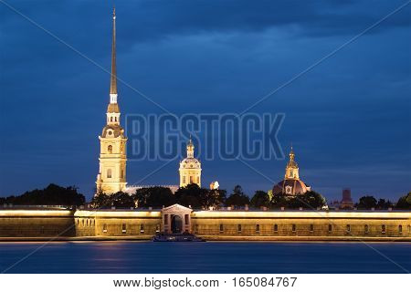 Cathedral of the apostles Peter and Paul in the Peter and Paul fortress June night. Saint Petersburg