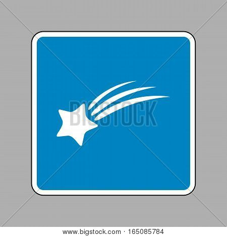 Shooting Star Sign. White Icon On Blue Sign As Background.