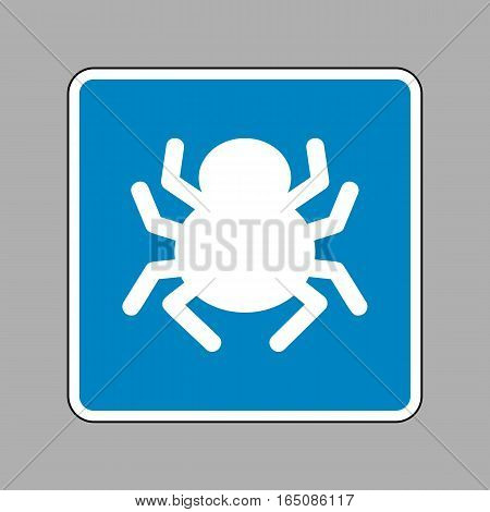 Spider Sign Illustration. White Icon On Blue Sign As Background.