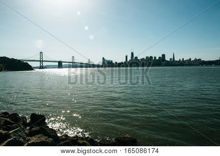 Skyline Of San Francisco With The  Oakland Bay Bridge
