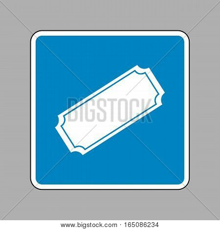 Ticket Sign Illustration. White Icon On Blue Sign As Background.