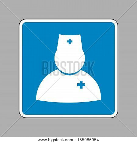 Doctor Sign Illustration. White Icon On Blue Sign As Background.