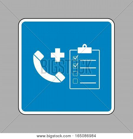 Medical Consultration Sign. White Icon On Blue Sign As Backgroun