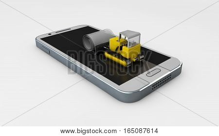 Bulldozer Cleans Old Screen. Screen Protect Glass Concept. Mobile Accessory. 3D Illustration