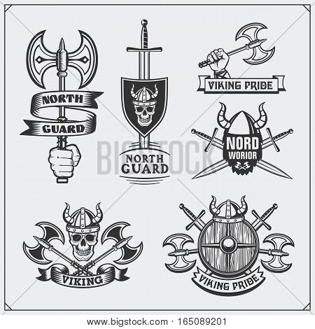 Set of viking labels, badges and emblems. Skulls and axes. Vintage style.