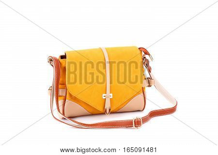 Leather handbag isolated on white background, horizontal picture.