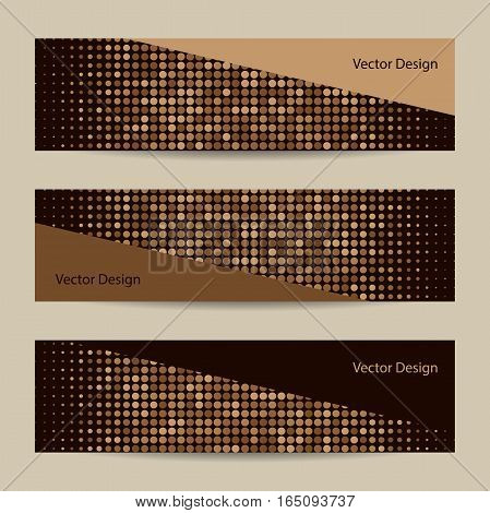 Set of horizontal banners. Abstract dotted brown background. Halftone. Vector illustration. Business, science, medicine and technology design.