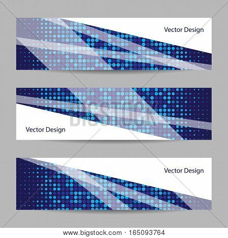 Set of horizontal banners with geometric pattern on blue dotted background. Business, science, medicine and technology design.