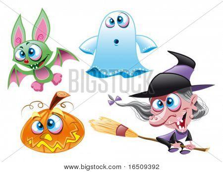 Vektor-Zeichen Halloween Hexe, Geist, Fledermaus, Kürbis