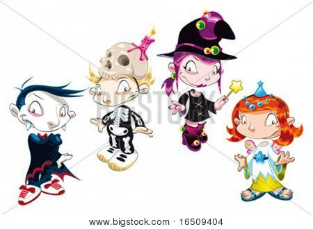 Halloween Family. Funny cartoon and vector characters