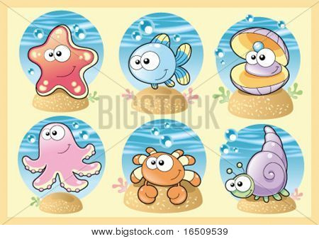 Sea Family: Funny Characters with Background