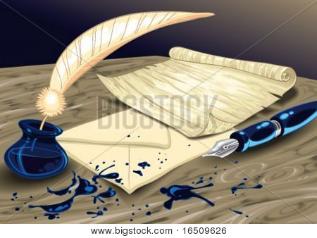 Letter with paper, pen, and inkpot. Cartoon and vector illustration