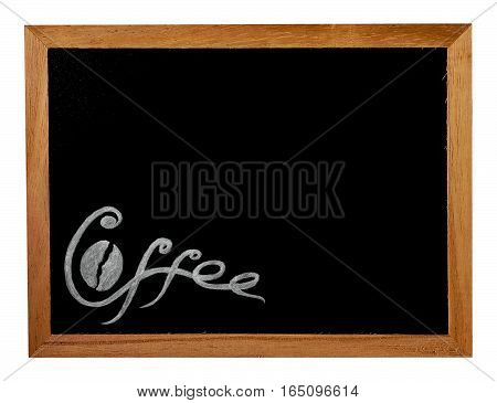 Hand Drawn Lettering Inscription Coffee and Bean on Wooden Frame with Black Blackboard for Restaurant Cafe Bar Coffeehouse and Coffee Shop. Vintage Retro Style.