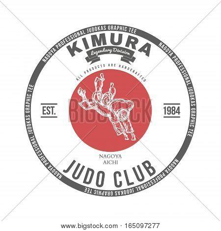Judo club t-shirt graphics label vector illustration