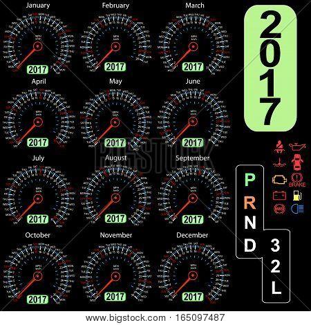year 2017 calendar speedometer car in vector.