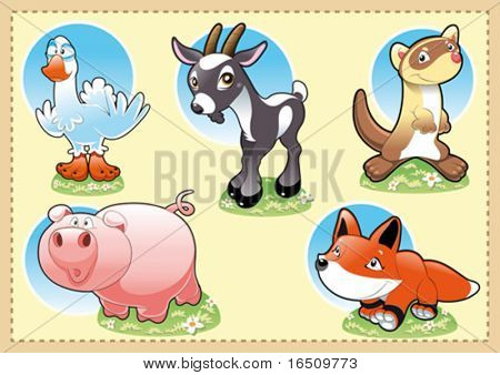 Farm Baby Animals. Funny cartoon and vector illustration.