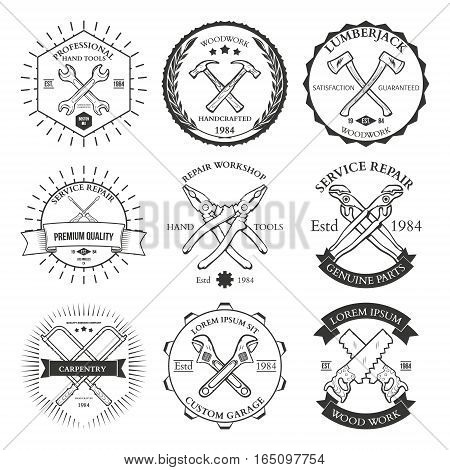 Set of vintage carpentry hand tools, repair service, labels and design elements vector