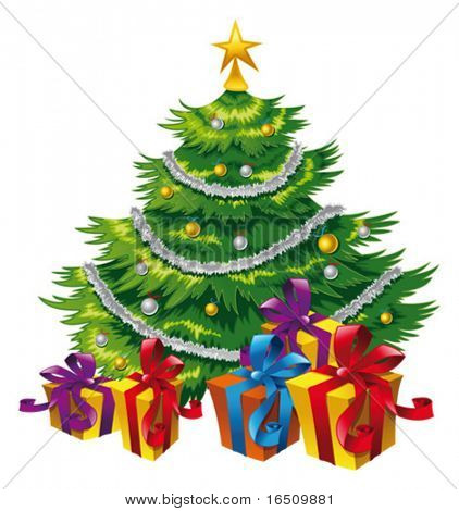 Christmas tree.  Cartoon and vector isolated illustration.