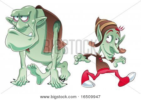 Ogre and Elf. Funny cartoon and vector characters