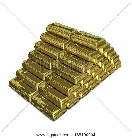 3D Illustration of a Stack of of Gold Bullion on a White Background