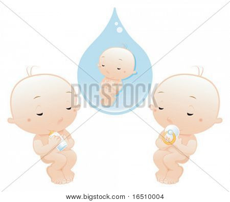 Newborn sleeping with pacifier and bottle. Cartoon and vector illustration