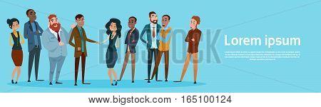 Businessman Handshake Businesspeople Group Team Hand Shake Agreement Concept Flat Vector Illustration