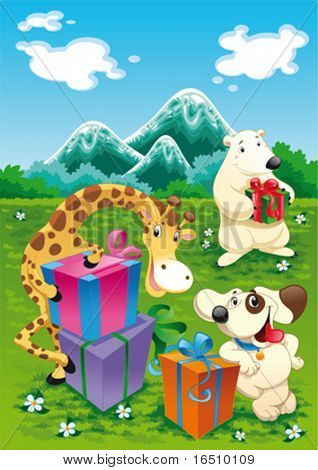 Animals and gifts with background. Funny cartoon and vector illustration, isolated objects