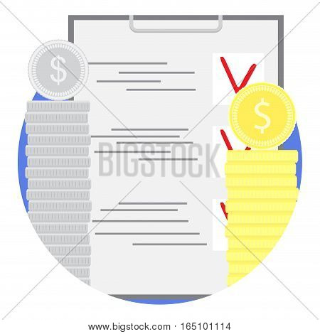 Planning financial budget icon flat. Budget control plan. management vector illustration