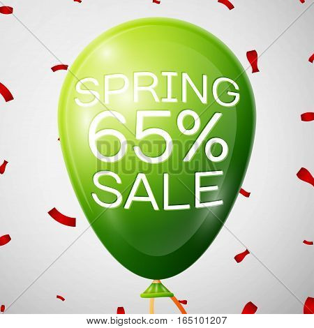 Green Balloon with 65 percent Discounts. SALE concept for shops store market, web and other commerce. Vector illustration.