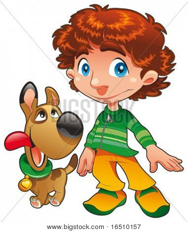 Boy with Dog friend. Funny cartoon and vector characters