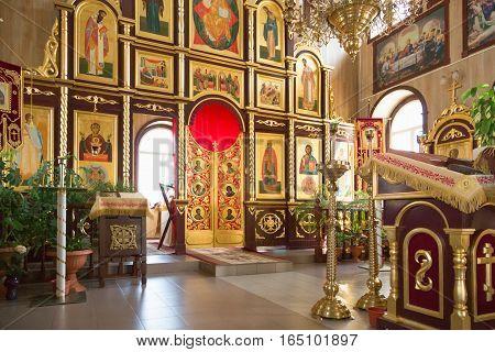 Gomel, Belarus - August 8, 2014: Orthodox Christian Church Inside.