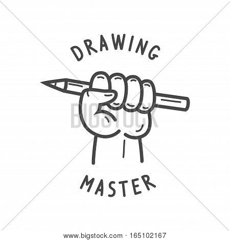 A hand in a fist holding a pencil, vector illustration logo