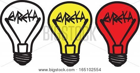 Three colored light bulbs  Eureka! - white, yellow   and red  on white background, isolated, vector
