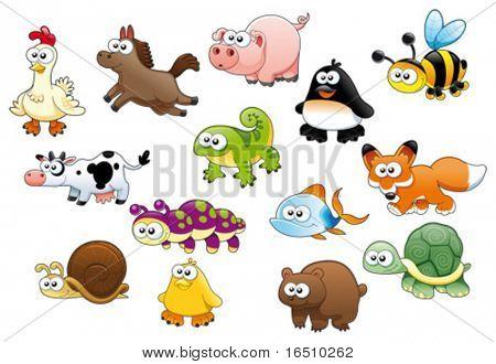 Cartoon Animals und Haustiere
