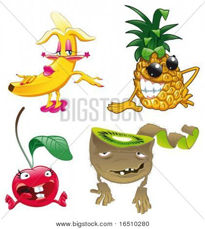Characters fruits. Funny cartoon and vector isolated objects